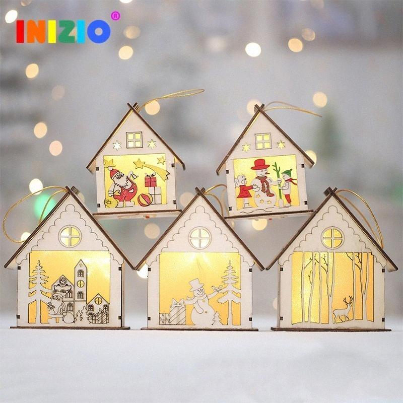 2019 Neujahr Weihnachten LED beleuchtet Holzhaus Weihnachtsdekoration Weihnachtsdekoration Feiertag Geschenk Sankt-Kind-Geschenk n5S1 #