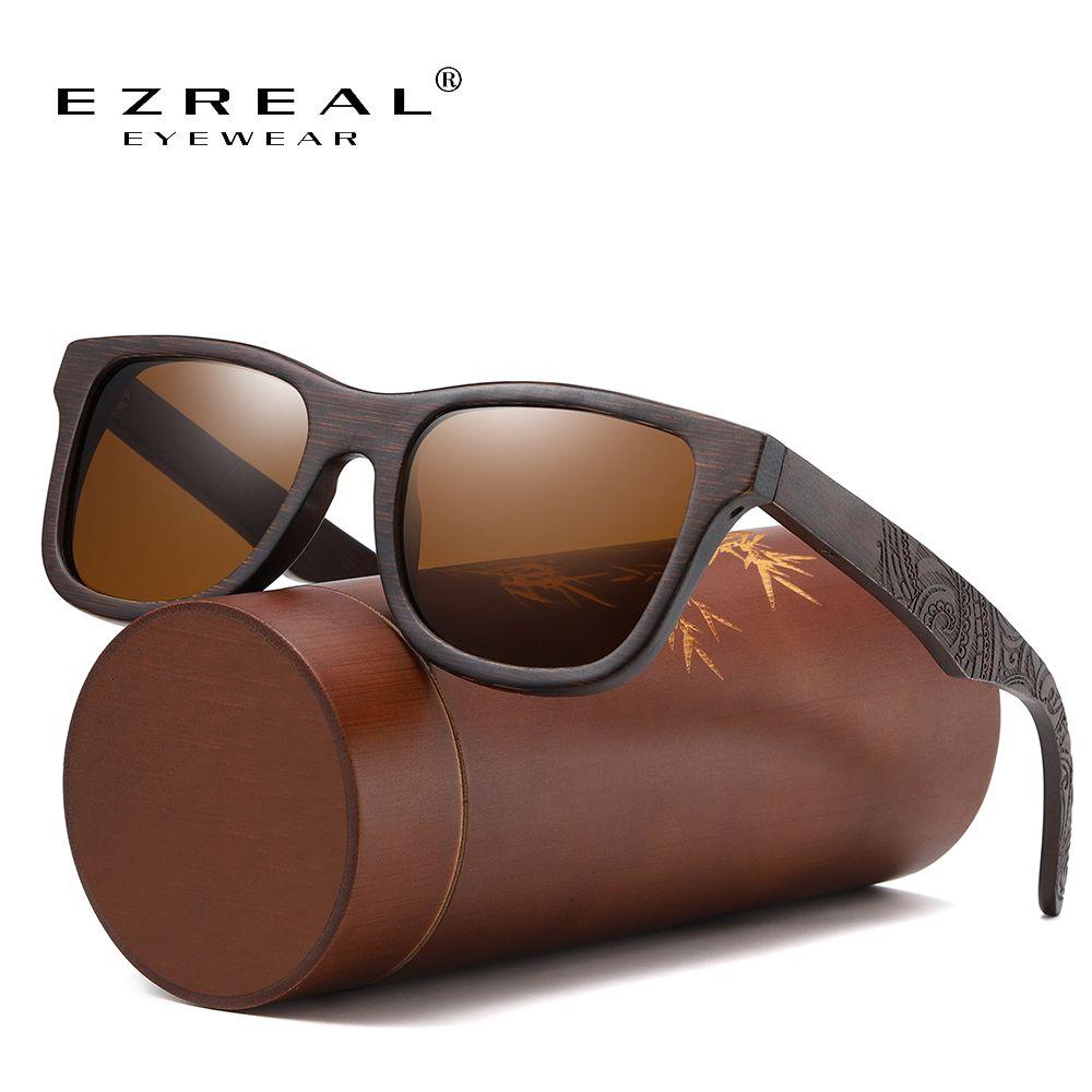 Ezreal main naturelle Brown Lunettes de soleil en bois Femmes Hommes Brand Design Lunettes Mode Vintage Polarized Dropshipping