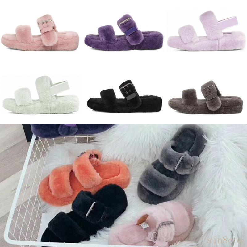 2020 Nuova in Australia fluff oh sì donne moda casual soffice finto diapositive pelosi inverno pantofola fuzz sandali dei pistoni delle donne pelliccia di visone Bn2c #
