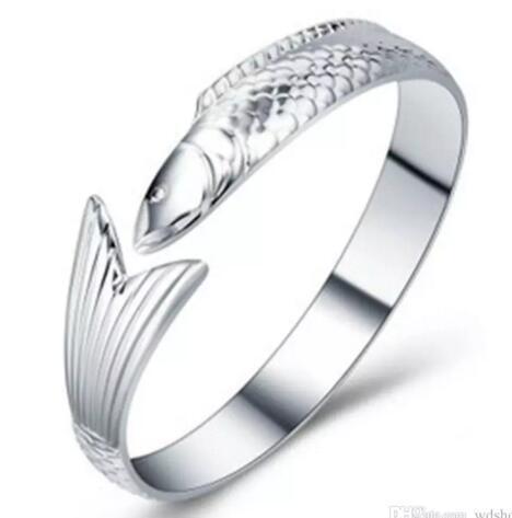 DHL Donne Pesce Cuff braccialetti d'argento di apertura bracciali wristband dei monili di favore di partito gioielli regalo del braccialetto del progettista