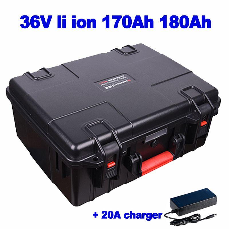 Impermeable maleta 36v 170ah 180AH litio ion lipo batería para RV EV calle marina crucero barredora AGV carretilla elevadora + 20A cargador