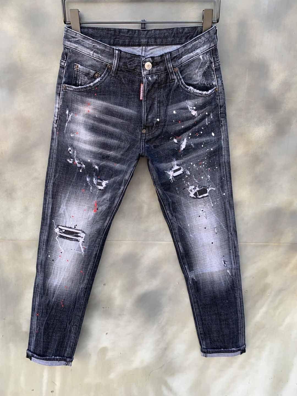 Herren Jeans Klassische Hip Hop Hosen Loodlist Jeans Pacted Blipped Biker Jean Slim Fit Motorrad-Denim-Jeans