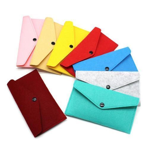 Wholesale Felt Mobile Phone Bag Case Universal Cell Phone Holder Envelope Locking Cloth Bag Coin Purse Wallets Package