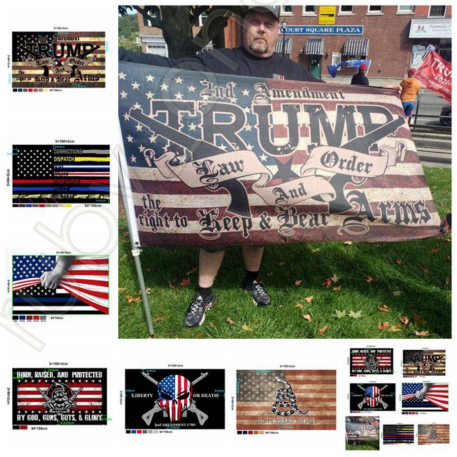 New Styles Trump Flag 90*150cm USA Police 2nd Amendment America Flag Gadsden Banner USA Presidential Election Flags DHL Shipping RRA3634