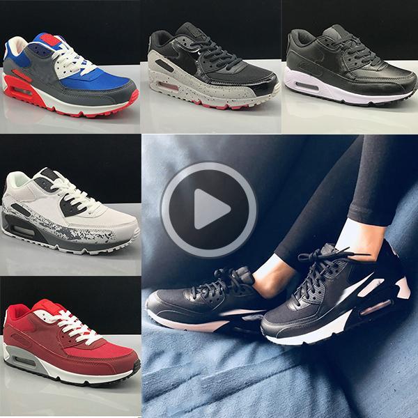 Las zapatillas de deporte de superficie transpirable clásicas 90 hombres y mujeres zapatos del amortiguador calzado deportivo Trainer Soft 36-45 gratuito 1CC8 envío