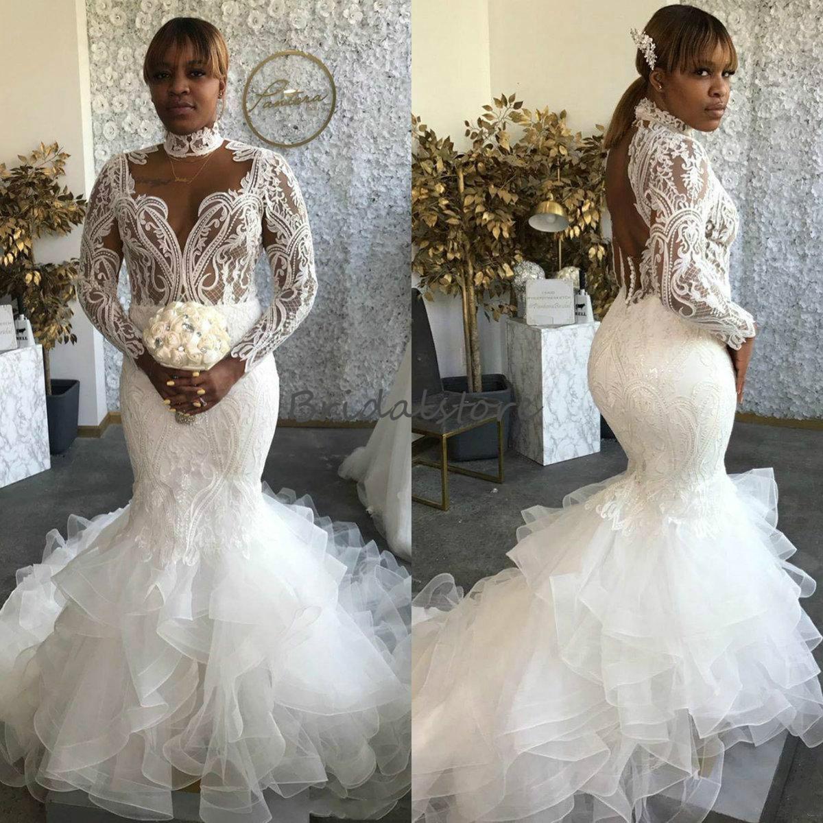 Crochet Lace BOHO Свадебные платья с длинными рукавами 2021 Sheer High Neck Открыть Назад African Русалка Свадебные платья с оборками Поезд Дешевые