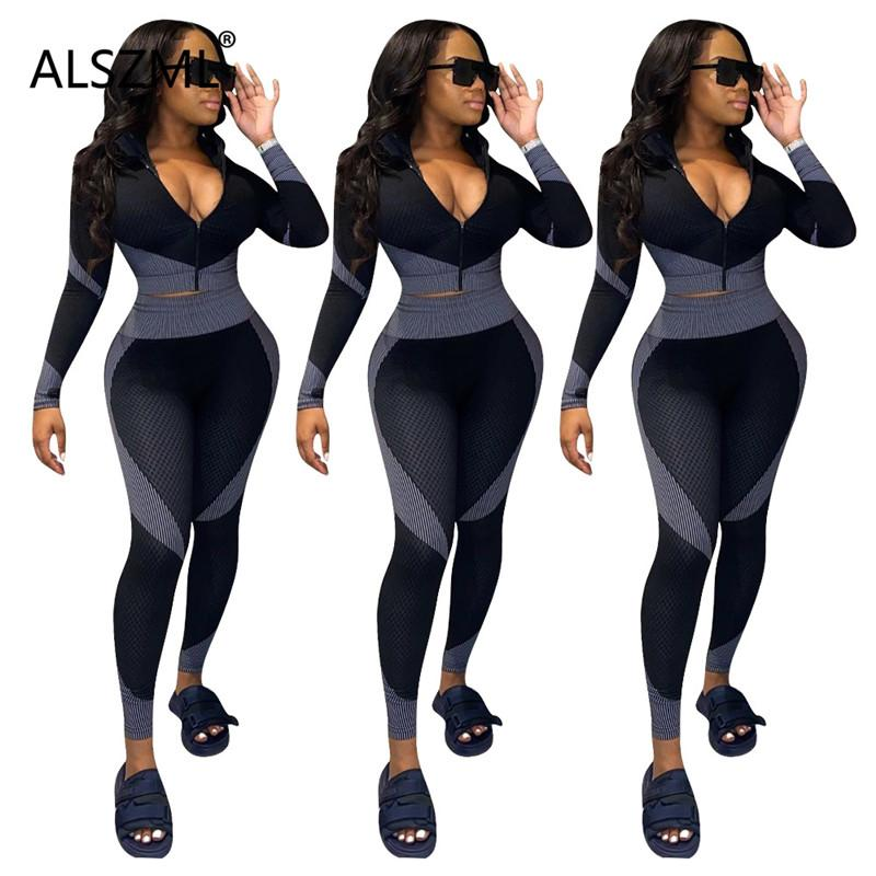 Womens Tracksuit deep v neck long sleeve skinny crop top and leggings 2 piece set sexy tight club party lady fashion chic set