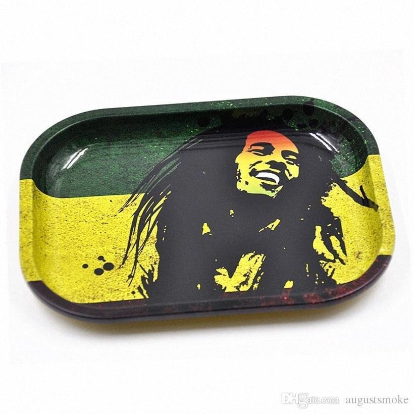 GNEW de laminación en caliente bandejas de metal S Tamaño 18cm * 14cm * 2cm Bob Marely dólar Imagen verde de la hoja del tabaco del cigarrillo bandeja Handroller Otro Tamaño g3nJ #