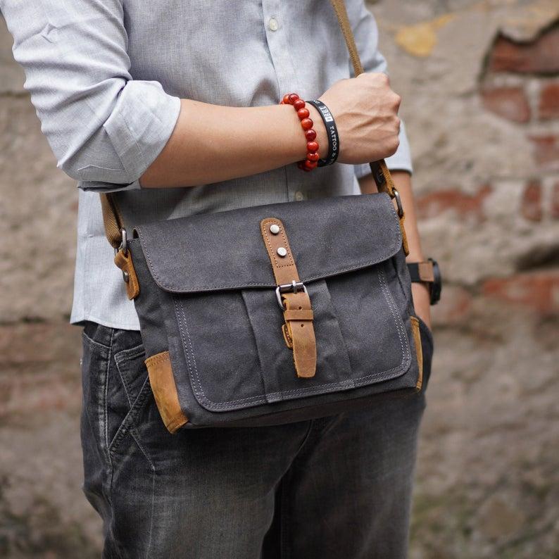 Vintage Tasche für grundlegende gewachste Geschäftsmann Männer Männliche Messenger Crossbody Bag Reise Wasserdichte Canvas Aktentasche Umhängetaschen Ecepi