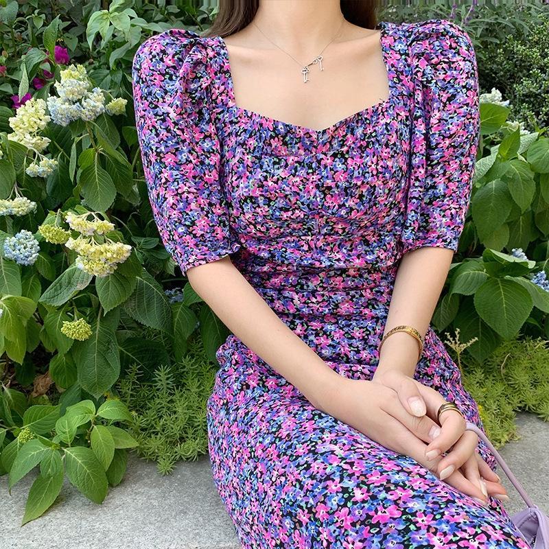 A5lCE MVpJF 2020 roupa novo estilo de comprimento médio Verão saia emagrecimento coreana chiffon floral elegante sobre-joelho Praia saia vestido das mulheres Praia