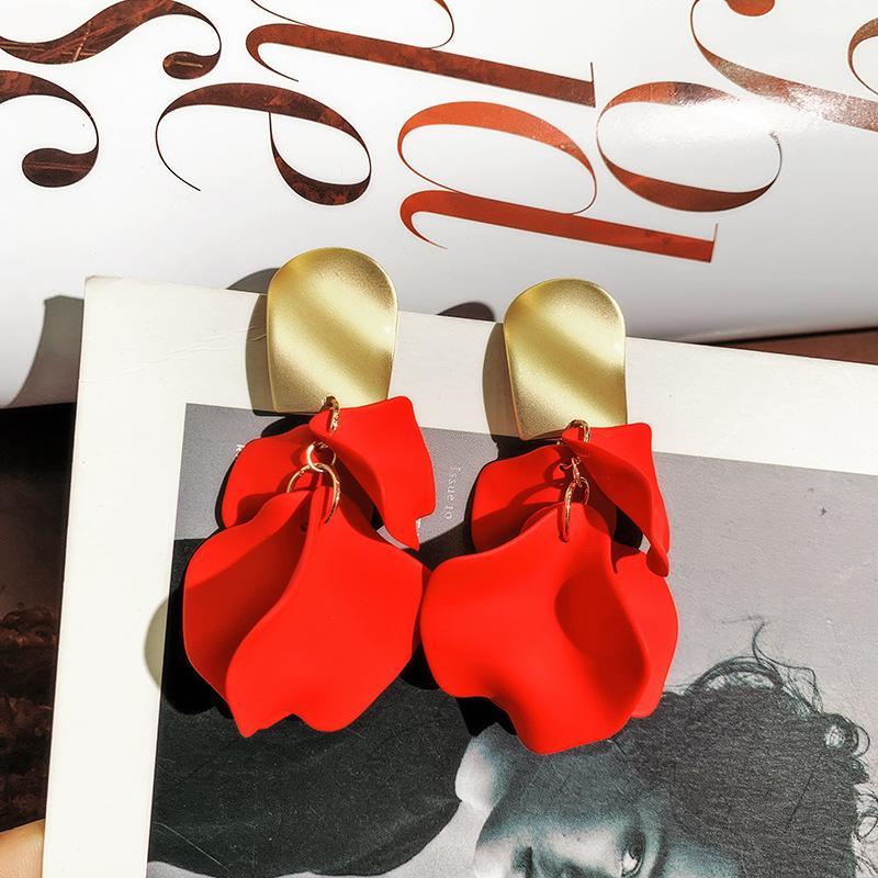 2020 bijoux de mode coréenne chaude exagérée pétales de rose pompon Pendants d'oreilles boucles d'oreilles en cuivre en métal d'or pour les femmes cadeau