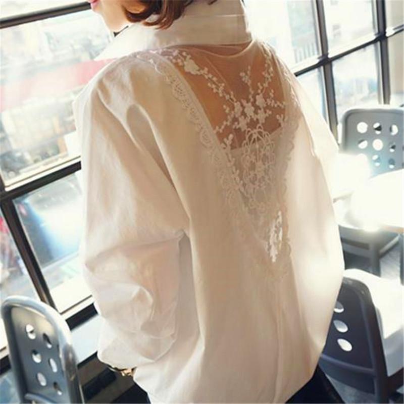 av58f 2020 primavera ed autunno coreano camicia Lace V-collo merletto di modo pendolare cucitura allentata del tutto-abbinare colore backless solido lungo camicia del manicotto