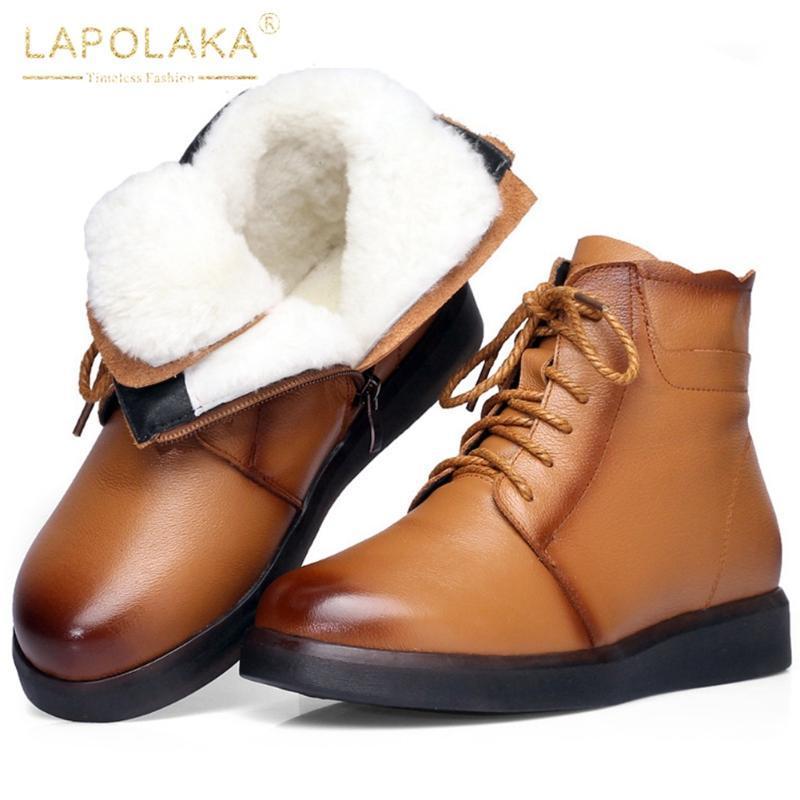 Lapolaka 2020 nuovi arrivi genuino della mucca leather Aggiungi pelliccia calda Stivali Scarpe Donna Zip Up di lusso Winter Snow Boots signore