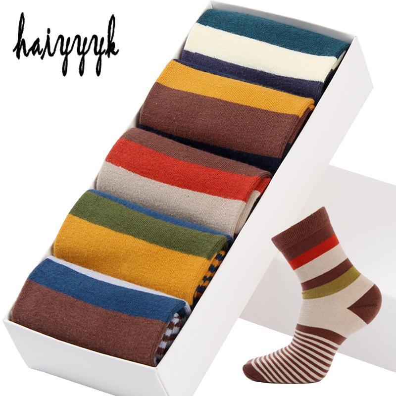 5 paires / Lot de coton pour hommes chaussettes à rayures colorées Chaussettes Fashions Compression Bonne Crew Chaussettes hommes grande taille 39-45 200924