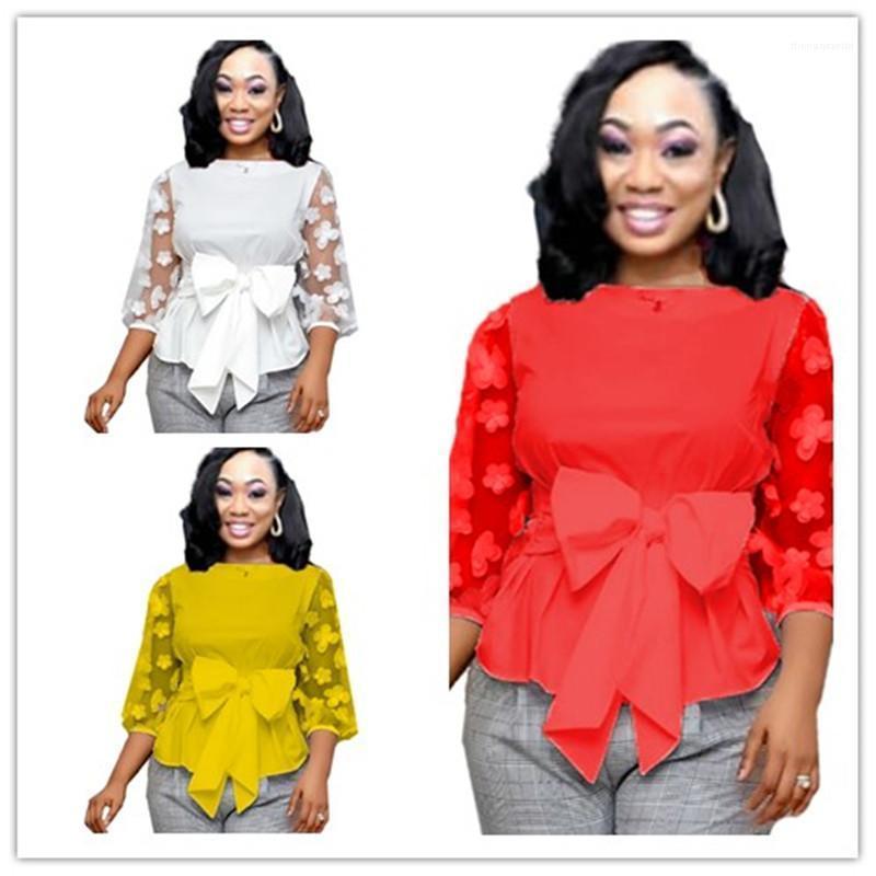Sólido de color ver a través de las mujeres diseñador Tees sólida floral de primavera para mujer de las camisetas de tres cuartos de la manga del cuello de equipo grande del arco