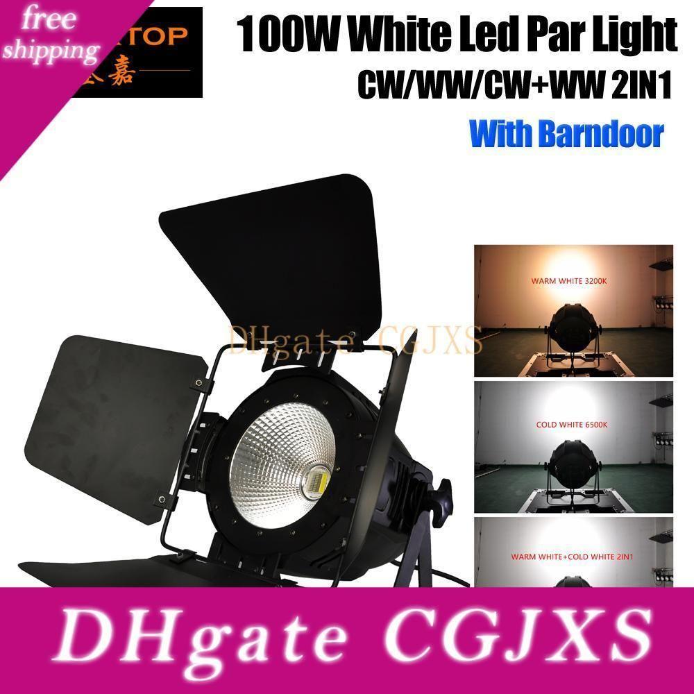 Tiptop 100W Теплый белый 3200K Холодный белый 6500K COB светодиодные Par свет с крышки DMX512 шторки управления белый цвет алюминий Пар Бидоны