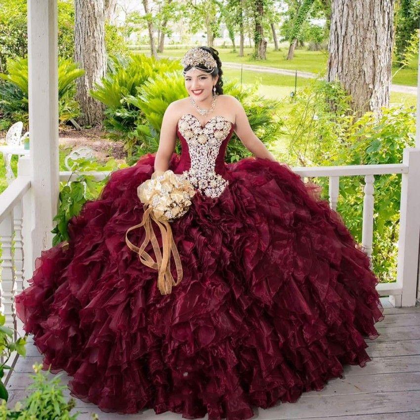 Vestidos mexicana niñas oscuro Borgoña vestido de quinceañera hinchada falda de volantes con cuentas de cristal vestido del desfile de 15 años 2020