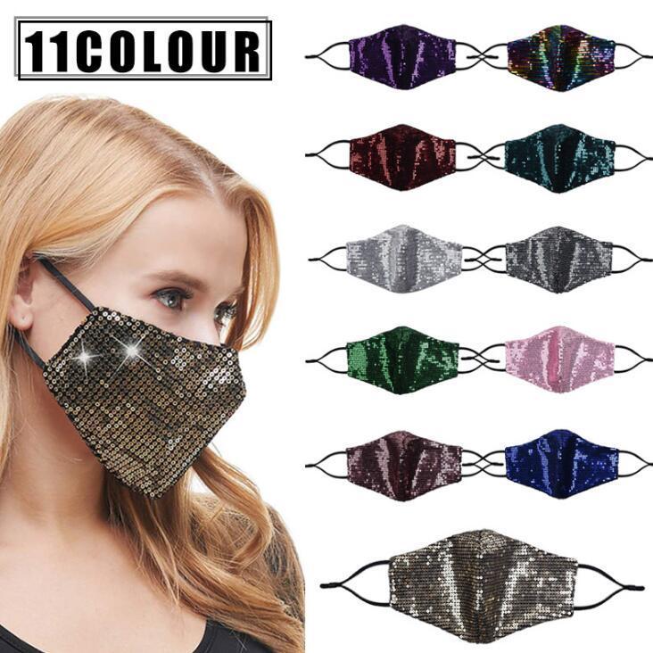 Paillettes Masques Designer Masque Visage Masques anti-poussière Mode réutilisables respirante extérieur de protection solaire adulte visage bouche couverture FWD1026