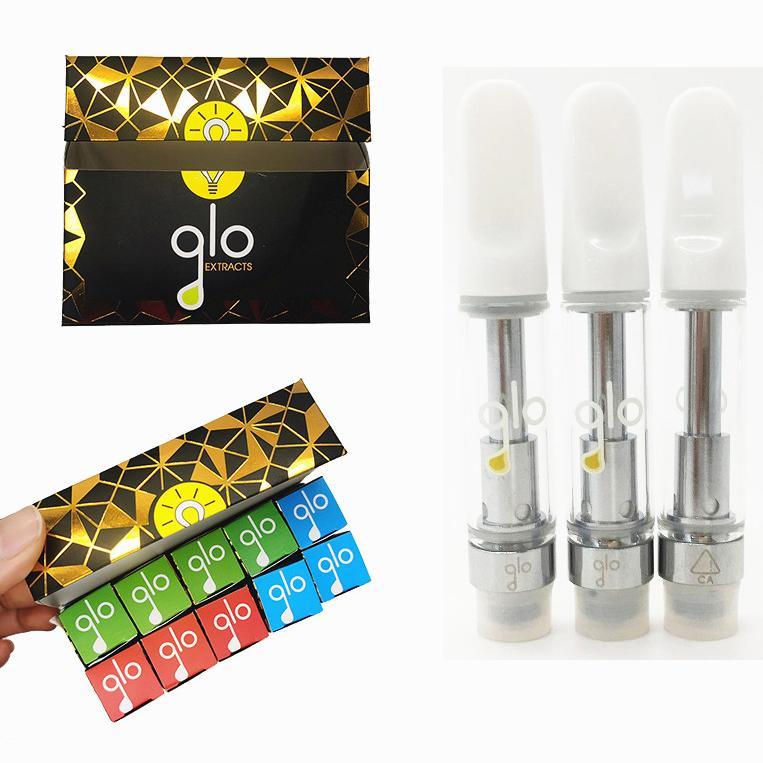 GLO Estratti Vape cartucce 0,8 ml 1,0 ml vetro vuoto del serbatoio E sigaretta monouso Vape Pen ceramica Coil 510 Discussione Cartridge Packaging
