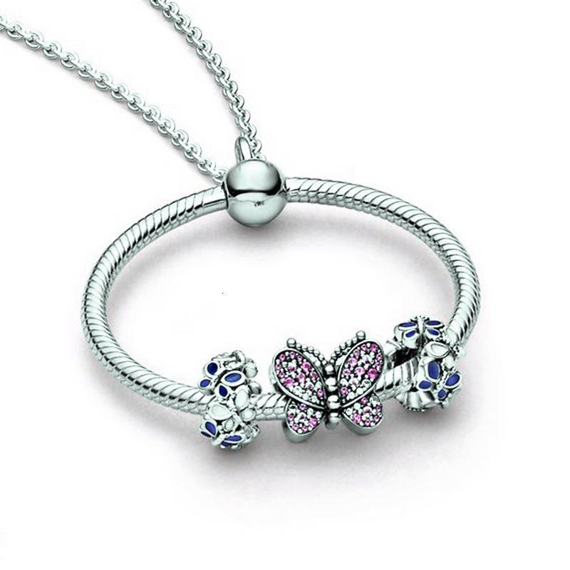 Moda Black Friday pingente de colar de adaptação pandora colar pulseira encantos jóia do grânulo DIY para o presente das mulheres subiu de prata de ouro