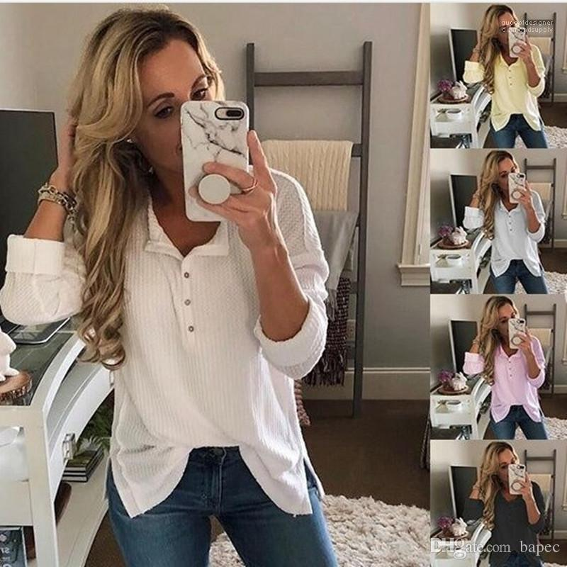Pure Color maglietta del collare di modo Stand di Design con il pulsante maglietta primavera casuale manica lunga Abbigliamento Femminile