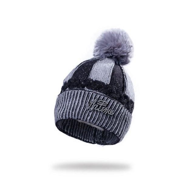 Personalisierte Farbabstimmung nette stilvolle kühle Art und Weise Rosa Baby-Mädchen-Kind-Winter-warme Fleece-Strick Wolle Strickmütze