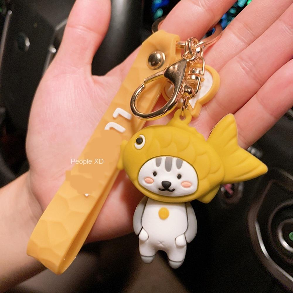 Nouvelle couverture de tête de vivaneau panda mignon porte-clefs couple chat créatif sac à dos petit pendentif cadeau pendentif porte-clés