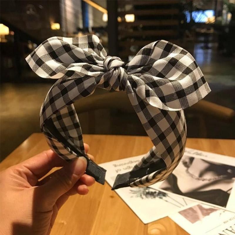 2020 Wide Side Fashion Girls Hair Accessories Plaid Hair Bows Hairbands for Women Knot Headband Korean Hoop Summer New
