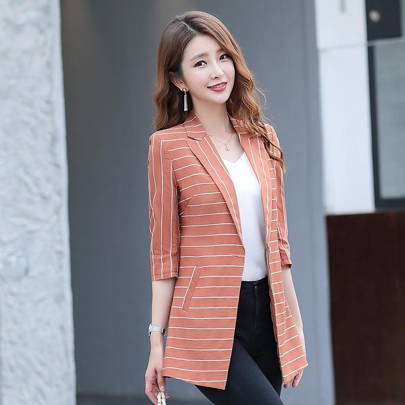 Casual 2020 new slim fit small suit Korean style large size medium sleeve jacket all-match small suit jacket Autumn Ladies
