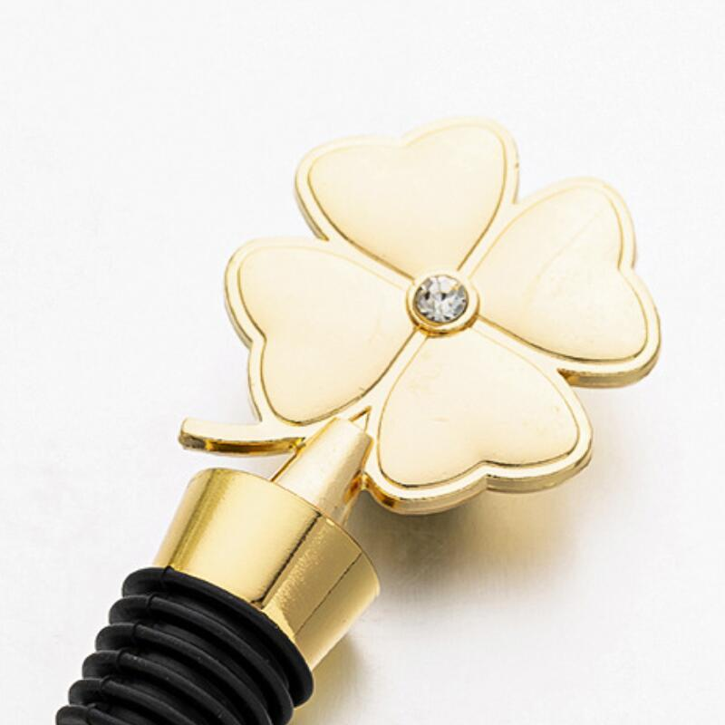 Lucky Clover Wine Bottle Stopper Four Leaf Clover Red Wine Stopper Wedding Favor Birthday Gift Event Giveaways BWD1066