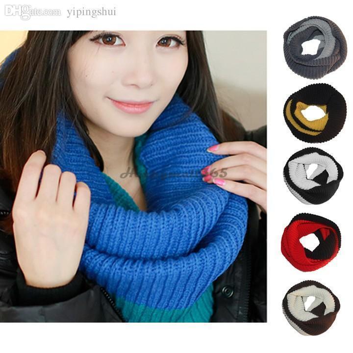 Nueva Wholesale-2020 populares caliente de las lanas de la bufanda de invierno bufandas unisex Wraps bufanda de punto del círculo del cuello la bufanda larga del abrigo del mantón 12