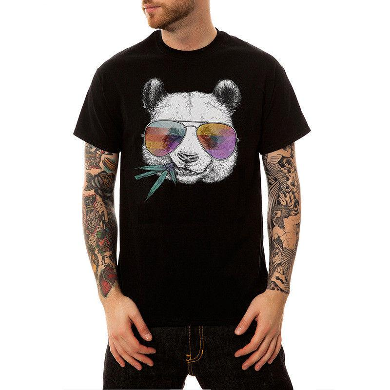 Summer 2020 New Casual Glasses Panda Print Short Sleeve T Shirt Men O-Neck Cotton Streetwear T-shirt Tops Tees Hip Hop US Size