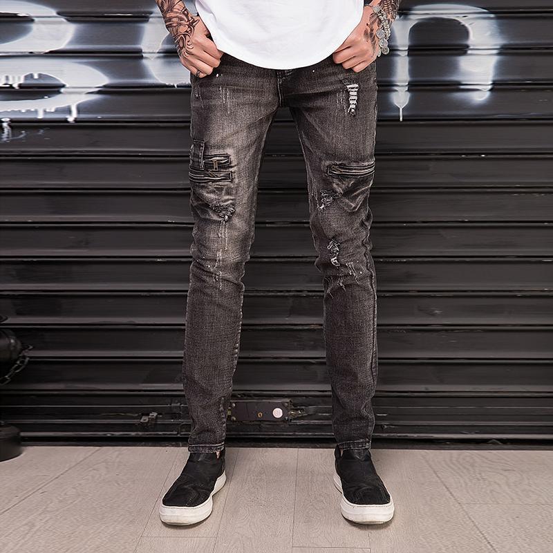 Мода Урожай Хип-хоп стиль мотоциклов Тонкий Байкер джинсы Хлопок рваные Высокое качество Уличная Мужчины джинсовые брюки джинсы грузовые