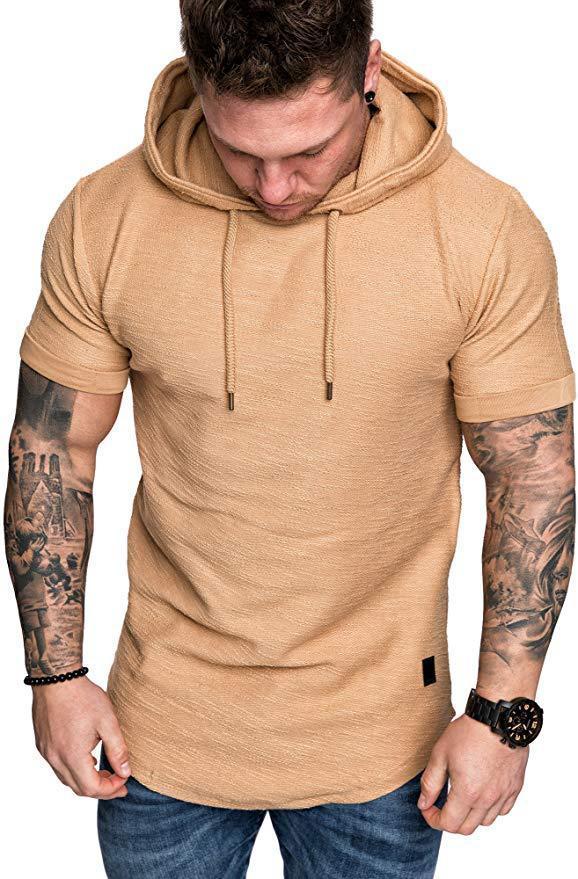 20s Повседневная мужская футболка с капюшоном Мода лето футболки для мужчин Streetwear Тис Топы Качество Сплошной цвет Мужские футболки Азиатский размер S-2XL