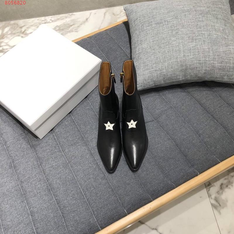 ankle boots 2020 Marca preto e Borgonha estrela de couro projeto bordado para toe toe das mulheres na cor sólida sapatos salto baixo