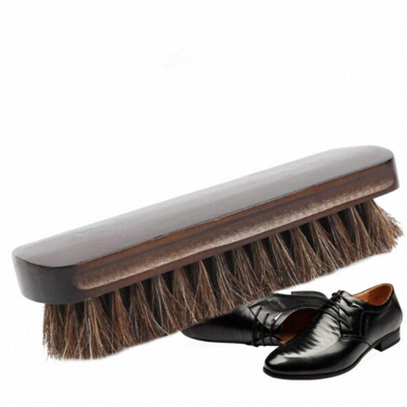 Crina sapatos Escova de madeira polonês Handle Natural couro verdadeiro cavalo de cabelo macio polimento Ferramenta Bota Polish Limpo Ferramentas hLLC #