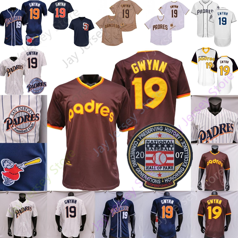 Tony gwynn jersey 1982 2007 hall de beisebol de fama remendo branco pinstripe marinho pullover botão casa longe tudo costurado