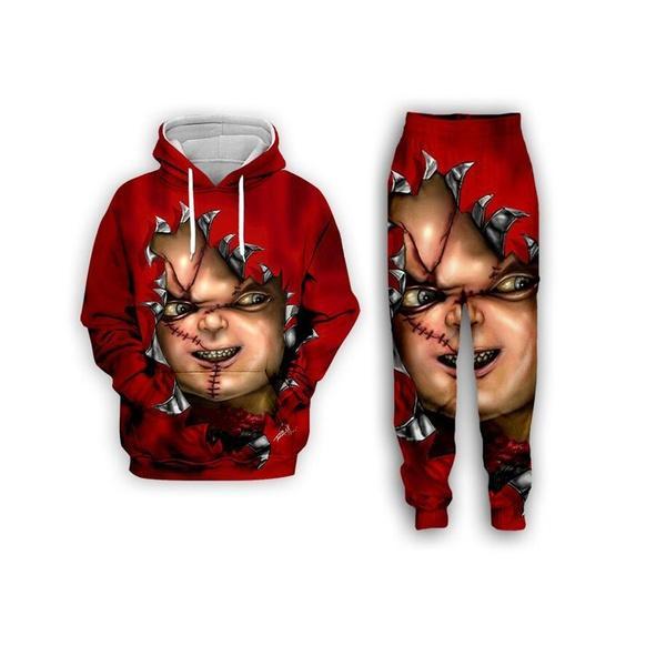 Yeni Moda Erkek / Womens Korku Filmi Chucky Komik 3D Hoodie + Pantolon S101 yazdır