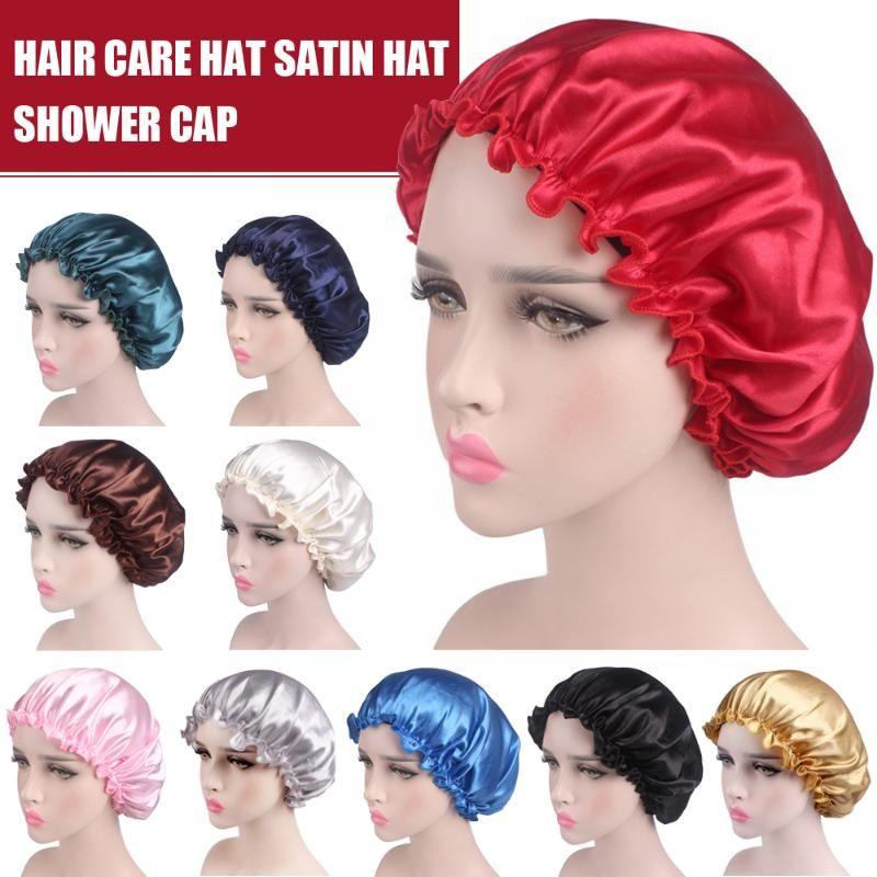 New Elastic 58 centímetros Moda Mulheres Duche Cap Cap sono cetim noite Duche Cabelo Bonnet Hat Silk Head Cover Ampla faixa elástica