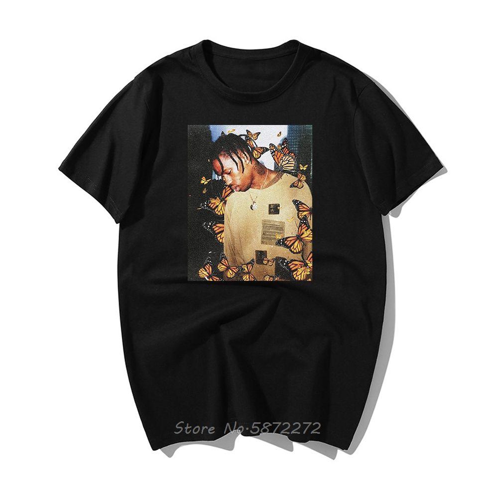Moda Travis Scott Camiseta Hip Efeito Borboleta Rap Álbum de Música cobrir o rosto Homens Cotton Verão Hop Tops T-shirt Tees