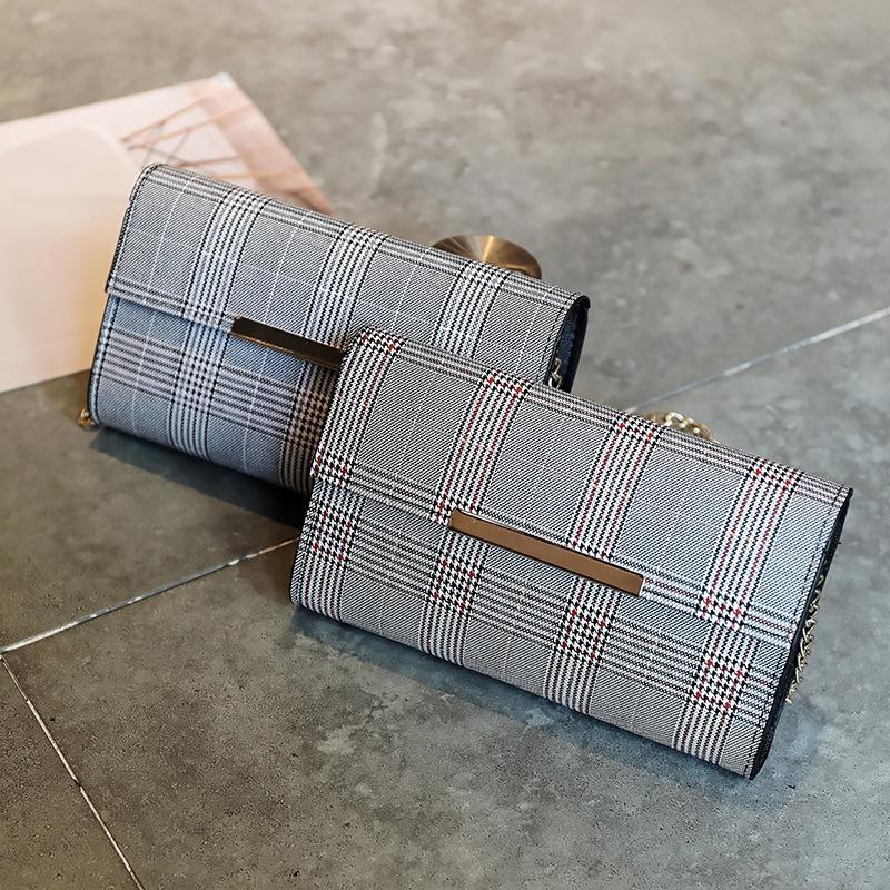 Yeni bayan omuz çantası yüksek kaliteli PU bahar ve yaz zinciri diyagonal çapraz çanta akşam moda ekose demir kenar kadınlar