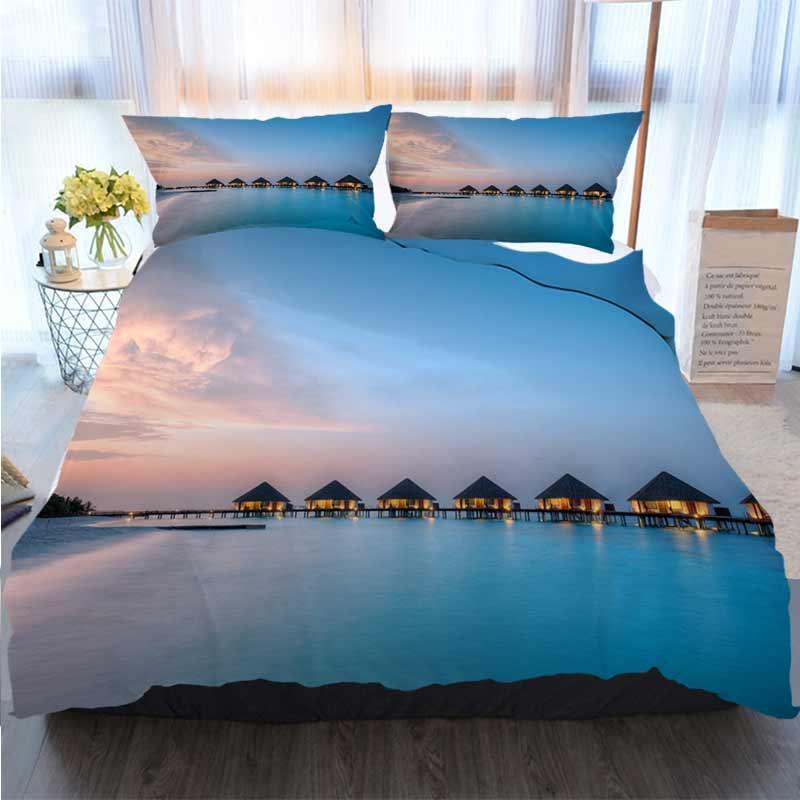 Biancheria da letto 3 pezzi copripiumino I set di Water Villas On Maldives Resort Isola Nel Tramonto Quilt Bedding Comforter Bedding