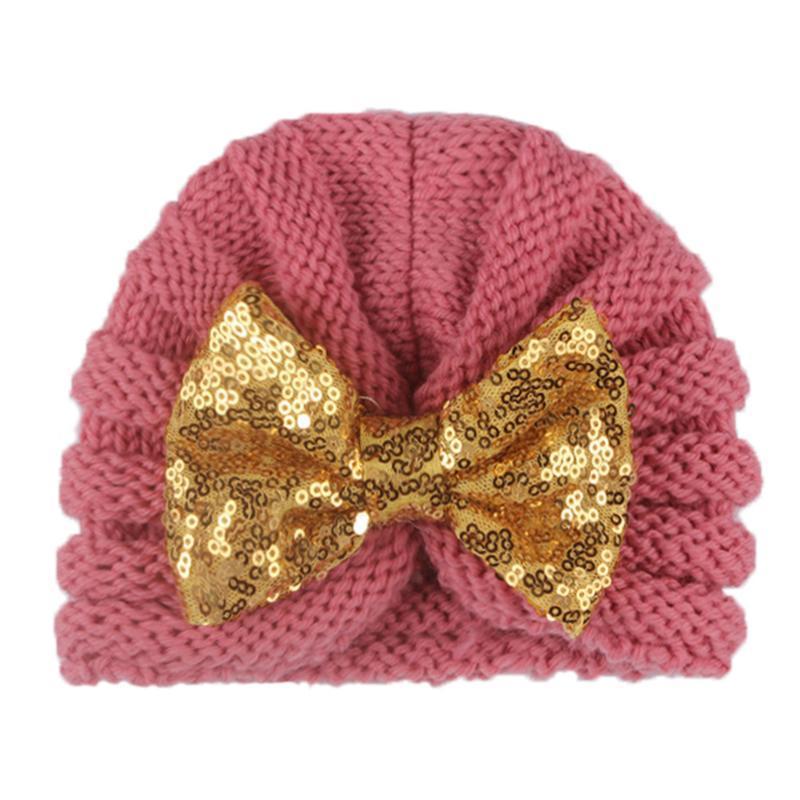 12 parçadan Bebek Şapka Aksesuarlar Bebek Kız Bebek Boy Kış Beanie Bow Düğümlü Sıcak Cap Tığ Örgü Pullu Bow Şapka Turban Caps