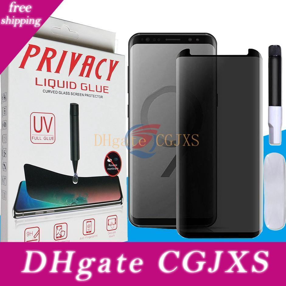 Privacidad Uv Nano líquida completa Pegamento 3d curvo de vidrio templado pantalla del teléfono protector para Samsung Galaxy S10 S9 S8 Plus Note8 Note9 En caja al por menor