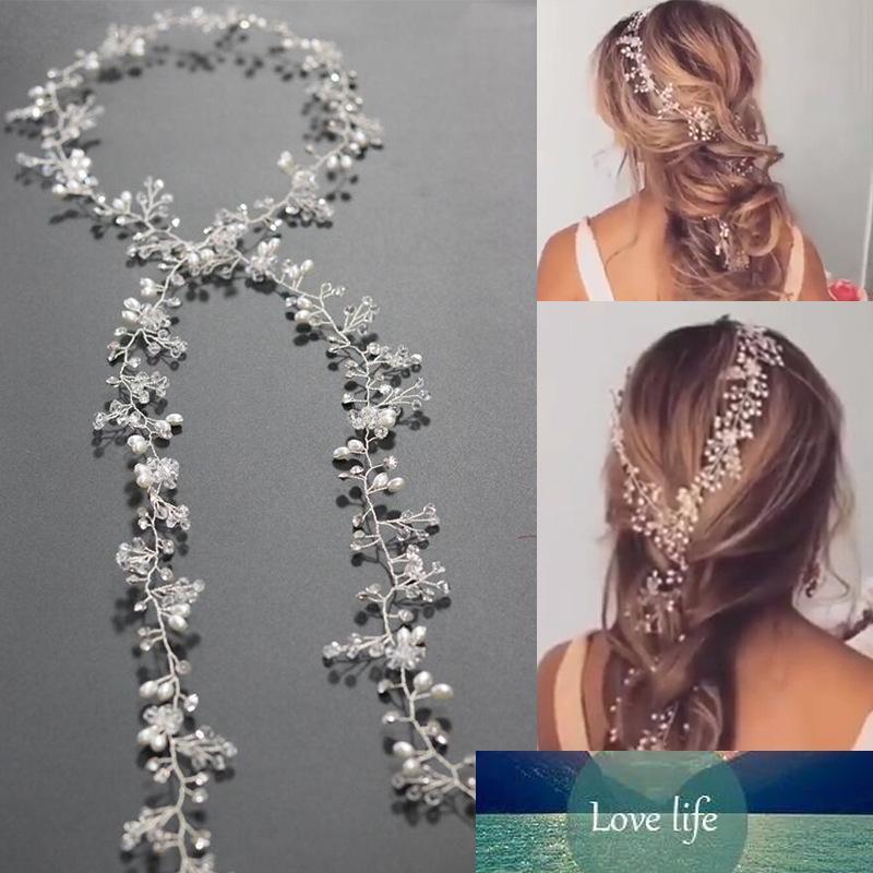 Joyería del encanto de plata de la manera aleación de cobre del Rhinestone cristalino claro blanco perla Hairband para las mujeres