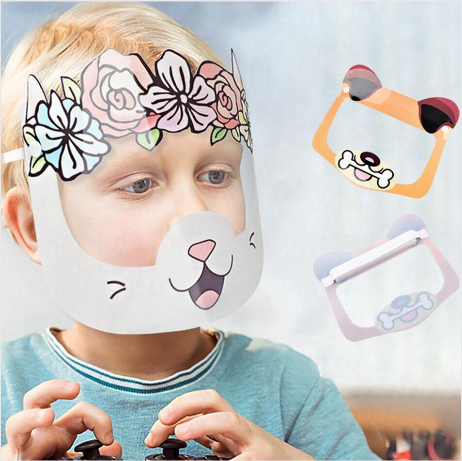 Maschere Cartoon Full Facciale Fog della nebbia Scudo chiaro Cute Kid Capretto Riutilizzabile Polvere Anti Splash Party LJJP423 Protezione Maschera per bambini Trasparente IQOHG