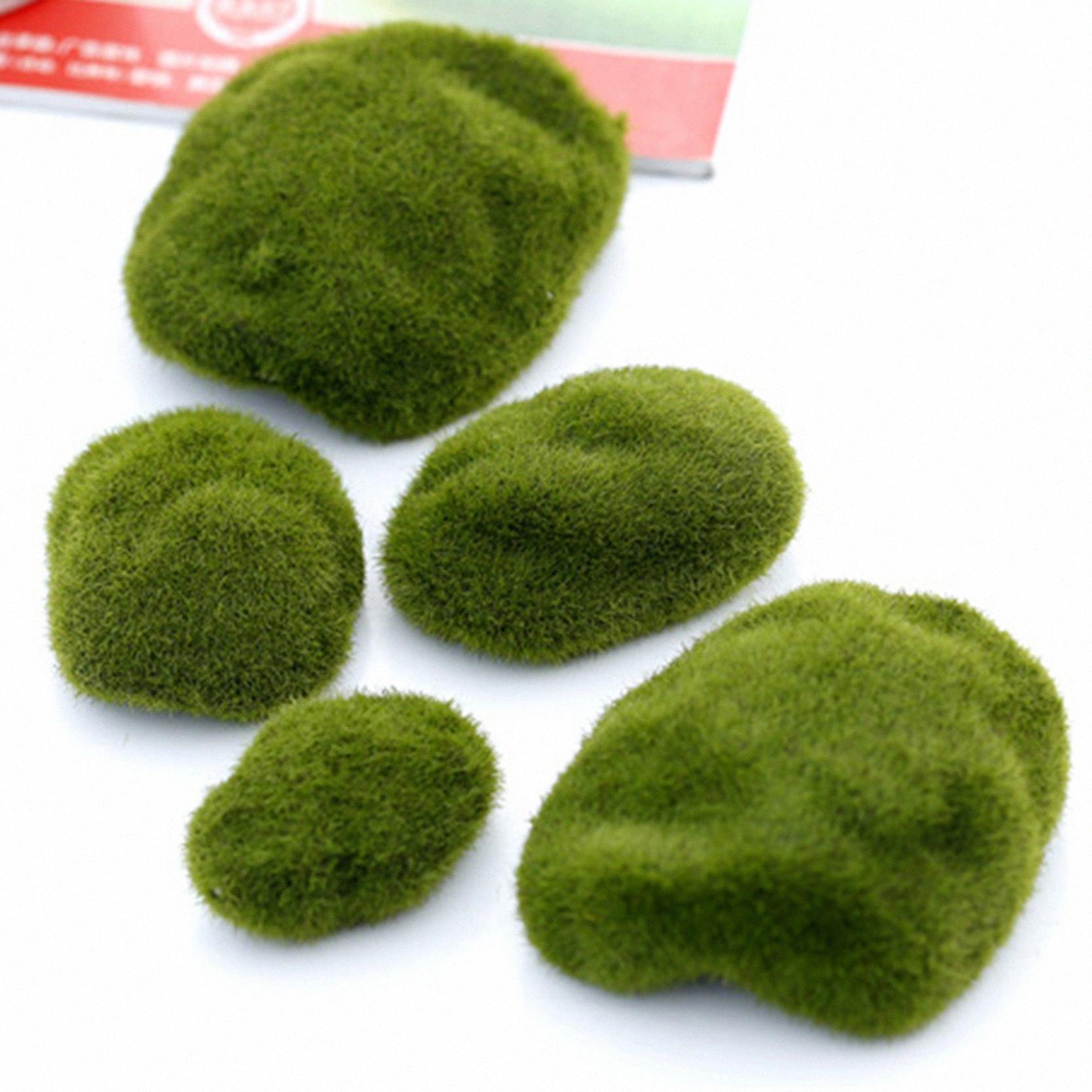 Atacado 3 pcs verde Natural Moss Artificial Crafts decorativa Micro Landscape Ornament Início Bonsai Suculenta Gnomes Miniature PiQh #