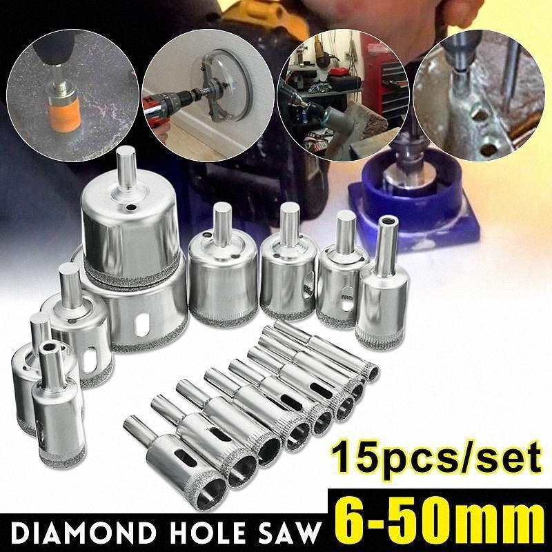 Один комплекта в 15pcs 6-50mm Алмазных Hole пила сверле Set 100 Гриц Плитки керамической Marble Glass Drill Bits SM10 #