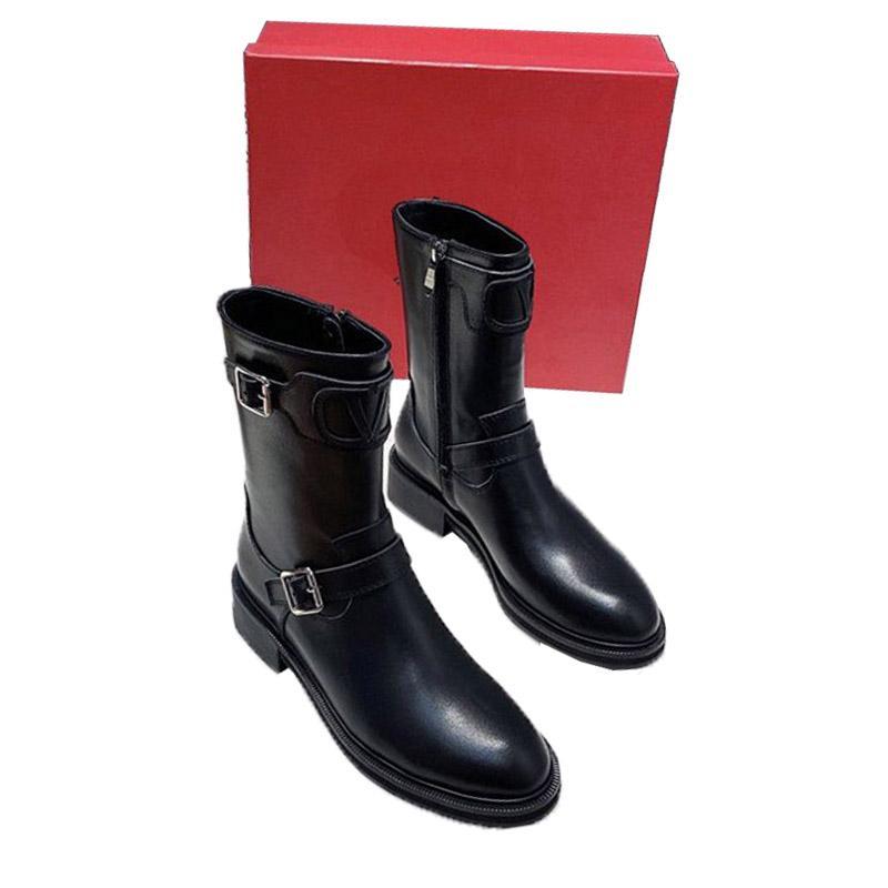 2020 Fashion Designer Women Shoes Semi-High Heeled Chunky-Heel Tip Biker boot New Thick Heel High Quality Boots 35-41