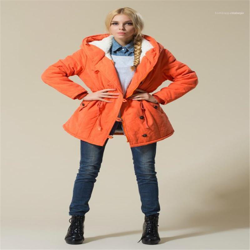 Kapşonlu Kadın Dış Giyim Casual Katı Renk Kadın Giyim Artı boyutu Kadınlar Coats Kış Kalın Pamuk Uzun Kollu